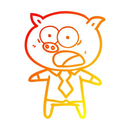 warm gradient line drawing of a cartoon pig shouting
