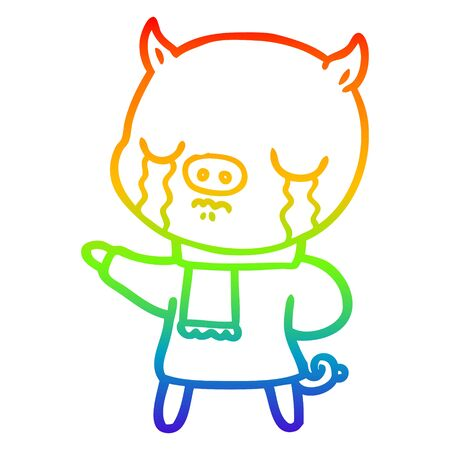 rainbow gradient line drawing of a cartoon crying pig wearing scarf