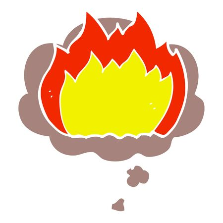 cartoon fire with thought bubble in retro style