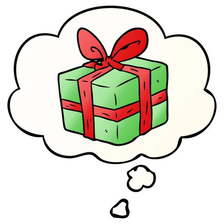 cartoon wrapped gift with thought bubble in smooth gradient style