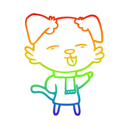 rainbow gradient line drawing of a cartoon dog sticking out tongue