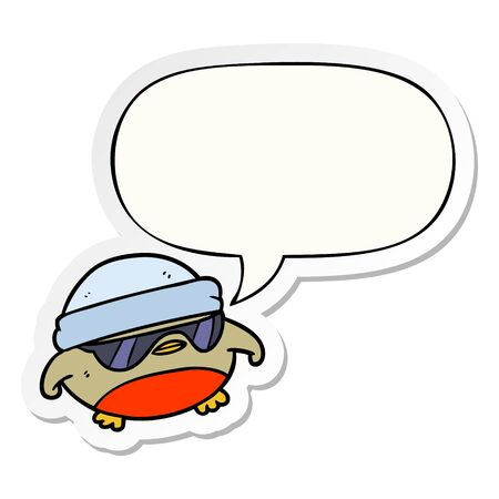 cool christmas robin cartoon with sunglasses with speech bubble sticker Illustration