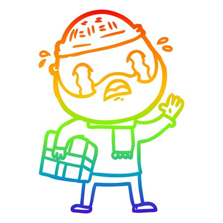 rainbow gradient line drawing of a cartoon bearded man crying with christmas present Stock Illustratie
