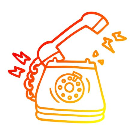 warm gradient line drawing of a cartoon ringing telephone 写真素材 - 129796832