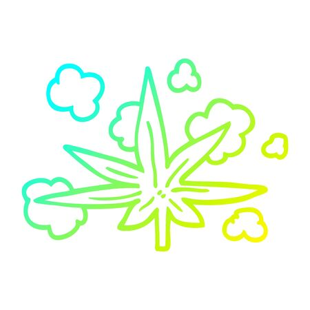 cold gradient line drawing of a cartoon marijuana leaf Çizim