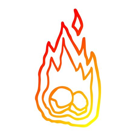 warm gradient line drawing of a cartoon burning coals