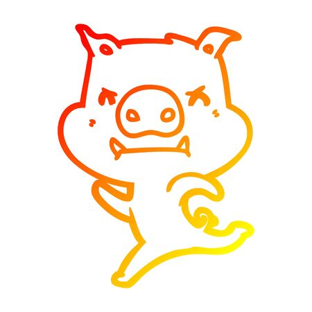 warm gradient line drawing of a angry cartoon pig charging