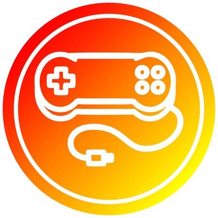 console game controller circular icon with warm gradient finish Banco de Imagens - 129796864