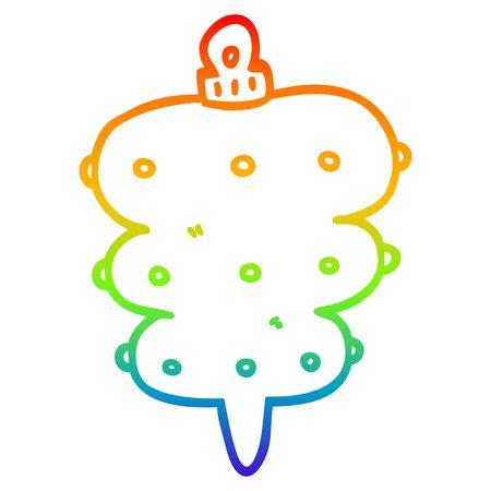 rainbow gradient line drawing of a cartoon christmas decoration