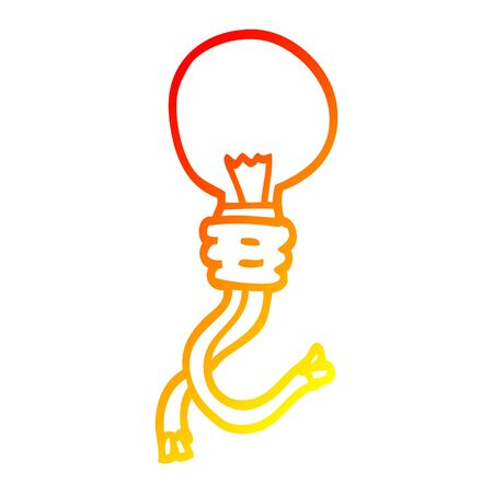 warm gradient line drawing of a cartoon electric light bulb
