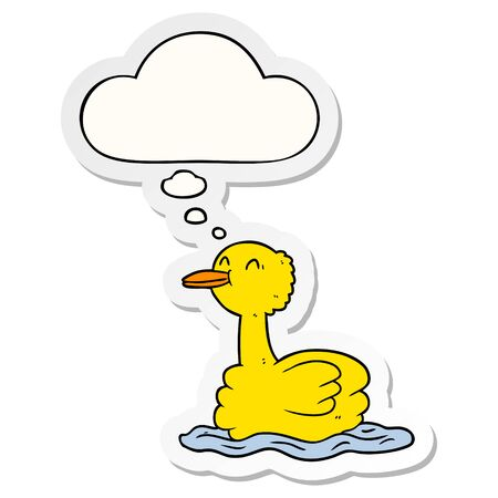 cartoon duck with thought bubble as a printed sticker Foto de archivo - 129797085