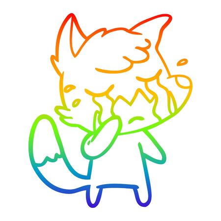 rainbow gradient line drawing of a crying fox cartoon