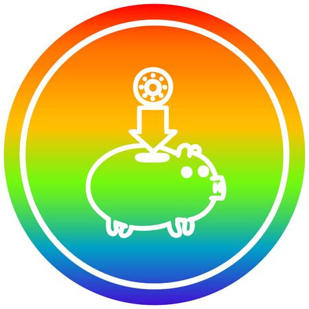 piggy bank circular icon with rainbow gradient finish Ilustração
