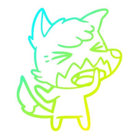 cold gradient line drawing of a angry cartoon fox