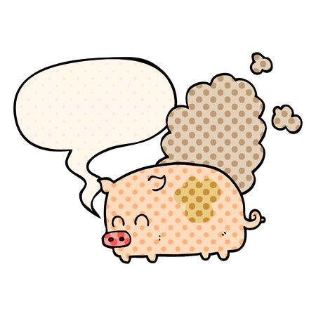 cartoon smelly pig with speech bubble in comic book style