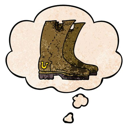 cartoon cowboy boots with thought bubble in grunge texture style