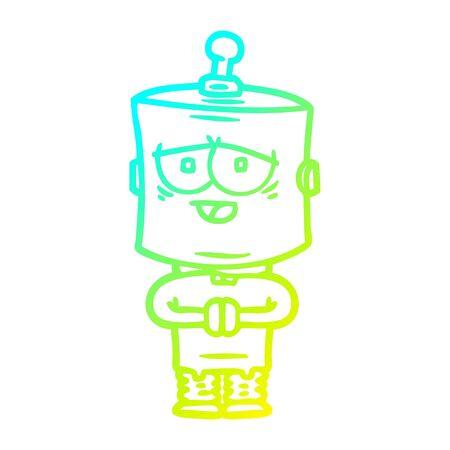 cold gradient line drawing of a cartoon robot Foto de archivo - 129797152