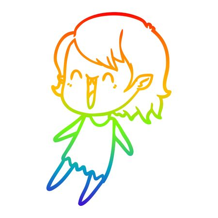 rainbow gradient line drawing of a cute cartoon happy vampire girl