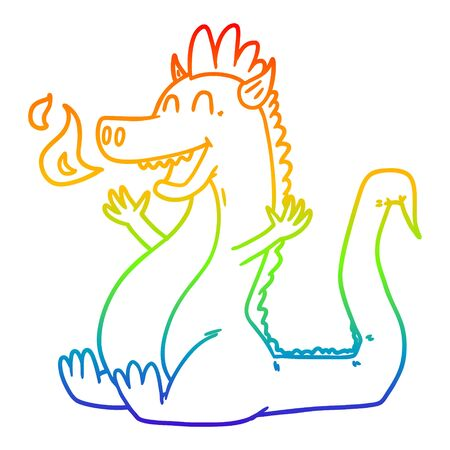 rainbow gradient line drawing of a cartoon happy dragon Иллюстрация