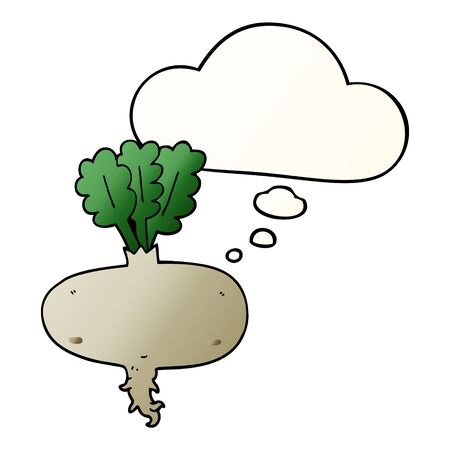 cartoon beetroot with thought bubble in smooth gradient style