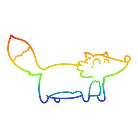 rainbow gradient line drawing of a fat cartoon fox Illustration