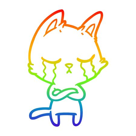 rainbow gradient line drawing of a crying cartoon cat with folded arms Illustration