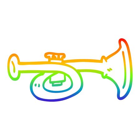 rainbow gradient line drawing of a cartoon brass horn
