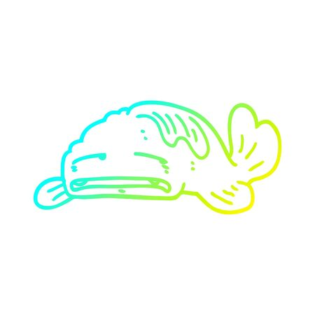 cold gradient line drawing of a cartoon sad old fish