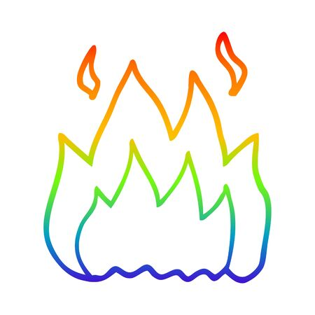 rainbow gradient line drawing of a cartoon fire burning