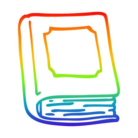 rainbow gradient line drawing of a cartoon closed book Foto de archivo - 129797140