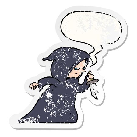 cartoon assassin in dark robe with speech bubble distressed distressed old sticker  イラスト・ベクター素材