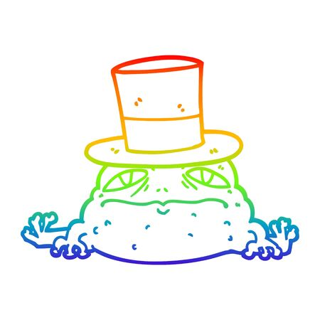 rainbow gradient line drawing of a cartoon rich toad Stockfoto - 129797320