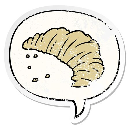 cartoon croissant with speech bubble distressed distressed old sticker 向量圖像