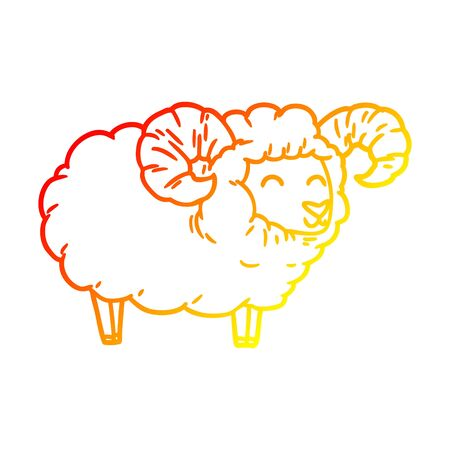 warm gradient line drawing of a cartoon ram Illustration