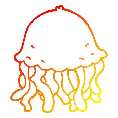 warm gradient line drawing of a cartoon jellyfish