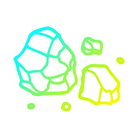 cold gradient line drawing of a cartoon rocks