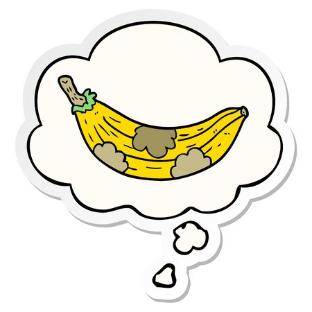 cartoon old banana with thought bubble as a printed sticker Illusztráció