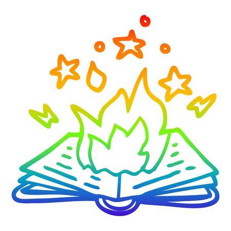 rainbow gradient line drawing of a cartoon spell book 向量圖像