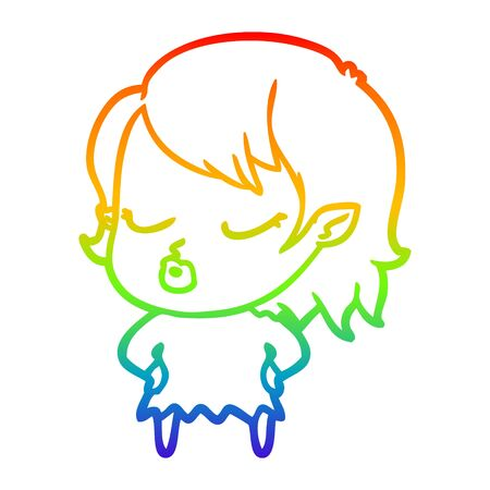 rainbow gradient line drawing of a cute cartoon vampire girl
