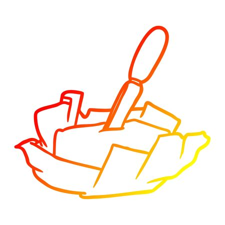 warm gradient line drawing of a traditional pat of butter with knife