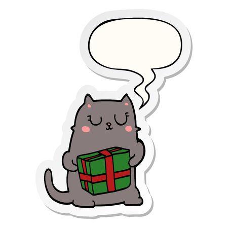cartoon christmas cat with speech bubble sticker