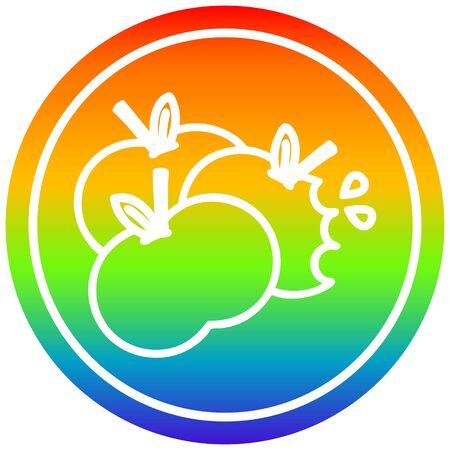 juicy apples circular icon with rainbow gradient finish