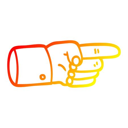 warm gradient line drawing of a pointing hand symbol 일러스트