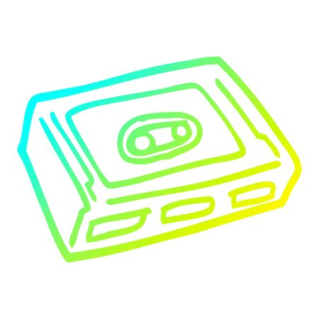 cold gradient line drawing of a cartoon cassette tape deck Illusztráció