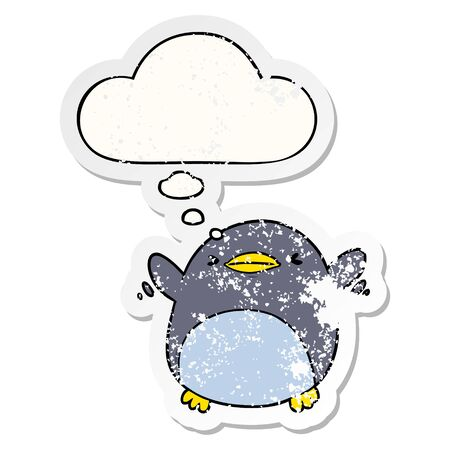 cute cartoon flapping penguin with thought bubble as a distressed worn sticker Stock Illustratie