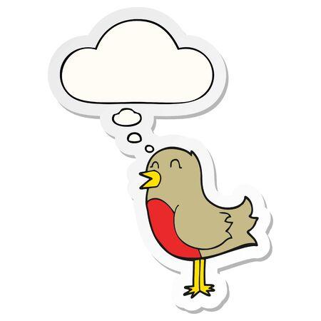 cartoon bird with thought bubble as a printed sticker Illusztráció