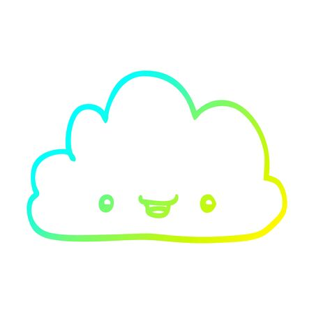 cold gradient line drawing of a cartoon tiny happy cloud