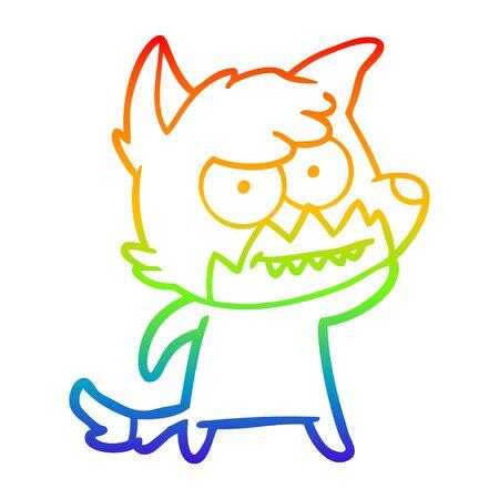 rainbow gradient line drawing of a cartoon grinning fox