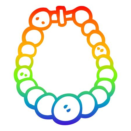 rainbow gradient line drawing of a cartoon pearl necklace