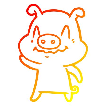 warm gradient line drawing of a nervous cartoon pig